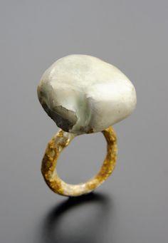 """Cu"" / ring / silver 925, 24Kt Gold foil, plasticine and resin / 2009 / unique piece."