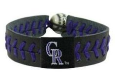 MLB Colorado Rockies Team Color Baseball Bracelet by GameWear. $12.07. Show off your favorite Major League Baseball team by wearing this stylish, officially licensed baseball bracelet from GameWear. Each bracelet is made from genuine baseball leather and real baseball stitches, and is adorned with your favorite team's logo and colors. Bracelets are one-size-fits-all and have a unique elastic baseball bead closure.