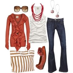 Burnt Orange cardigan and cute tote. I would go with brown shoes and skip the necklace, but that's just me.