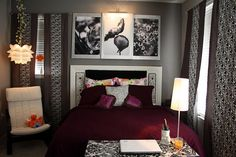 Loving the grey and purple. Def an idea for master bed room