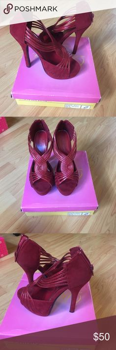 Red Wine Suede & Patent Leather Strappy Pumps 👠 Worn once or twice. Almost like new. Mostly Suede with red patent leather straps across top of foot with a Peep Toe front and a zipper backing. Size 7 1/2. Please comment if you are interested, would like to see additional photos or if you would like to make me an offer. 💕💕💕 Delicioso Shoes Heels