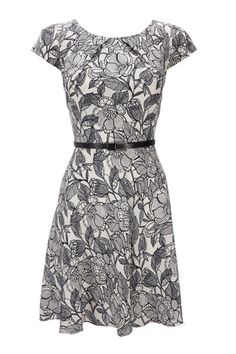 Black And White Floral Belted Petite Dress - Petite