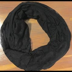 Express Lace loop scarf Black lace loop scarf from express. Express Accessories Scarves & Wraps