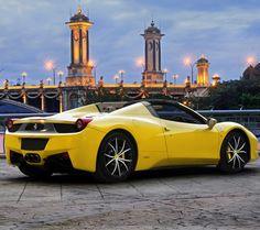 Ferrari 458 Italia setting the city a light in bright Yellow! #spon - Check it out.
