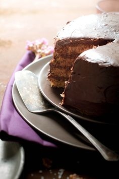 "Walnut Sponge Cake with Salted Chocolate Cream Fillng and Frosting ~ via this blog, ""Somewhere over the Kitchen""."