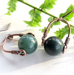 Green bloodstone earrings