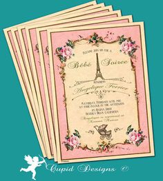 Items similar to French baby shower invitation/Parisian baby shower/shabby chic baby shower invitations/Printable/Printed baby shower invitations. on Etsy Printable Birthday Invitations, Baby Shower Invitations, Parisian Baby Showers, Custom Envelopes, Tiffany Blue, French Style, Vintage Pink, Pink Blue, Announcement