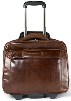 S Babila Genuine Leather Laptop Cabin Size Trolley Briefcase Overnight Flight Travel Bag (Cognac): Amazon.co.uk: Luggage £234.99