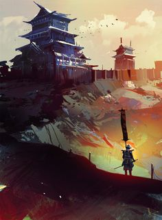 Title: East Guard Name: Amir Zand Personal Speedpainting, comes with two versions, Been busy with creating some castle artwork for Client projects, thought to do something with Japanese Flavor in between. Fantasy Places, Fantasy World, Fantasy Art, Fantasy Paintings, Ronin Samurai, Samurai Art, Dojo, Games Design, Surreal Photos