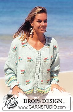 """DROPS 30-15 - DROPS jacket with small flower bouquets in """"Paris"""". Size S-L. - Free pattern by DROPS Design"""
