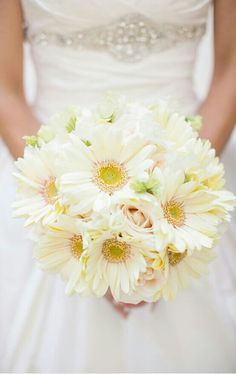 Bride's Wedding Bouquet Of White Gerbera Daisies & Cream Roses^^^^