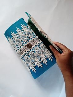 Discount Lace clutch- unique handmade item