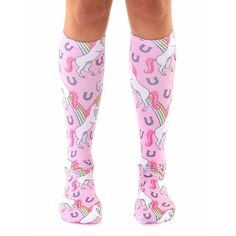 Living Royal Girls Unicorn and Rainbows Knee High Socks in Pink
