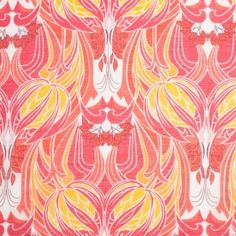 Part of the world famous Liberty of London collection, this 'Kate Nouveau' print was derived from a 1960s Arts and Crafts print, with a nod to Art Deco. Brilliantly presented on top of a very fine voile composed of silk and cotton fibers, this print is artistically daring and visually dynamic. Voiles are plainly and loosely woven dress materials typically semi-transparent in opacity and very thin. These materials drape and gather exceptionally well. This super soft Liberty of London fabric…
