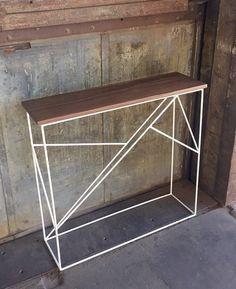 Modern Walnut Hall Table with Geometric Steel Base