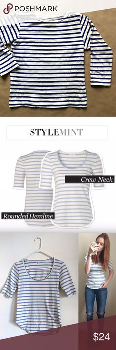 """🚨$10 StyleMint Jackson Stripe Baby Blue/White Top Jackson Stripe: Short sleeve, scoop neck shirt-tail T. Available in red/ivory and ivory/baby blue. 100% prima cotton. Excellent condition. Runs a little big.     Length: 20.5-23.5"""" Sleeve Length: 9.5"""" Bust: 31"""" with lots of stretch StyleMint Tops Tees - Short Sleeve"""
