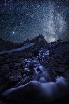 Grand Tetons at night