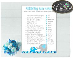 Our new product: CELEBRITY BABY NA.... Check it out here: http://snoopy-online.myshopify.com/products/celebrity-baby-names-baby-boy-shower-game-with-aqua-blue-and-gray-color-elephant-theme-digital-files-jpg-pdf-instant-download-ebl01