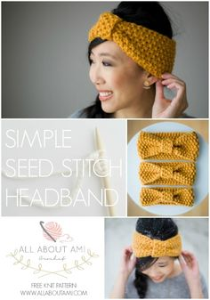 """Knit this beginner-friendly """"Simple Seed Stitch Headband"""" with beautiful texture! Free pattern and tutorial available! patterns free beginner Knitting for Beginners: Simple Seed Stitch Headband - All About Ami Beginner Knitting Patterns, Easy Knitting Projects, Knitting Blogs, Knitting For Beginners, Loom Knitting, Knitting Stitches, Free Knitting, Baby Knitting, Crochet Patterns"""