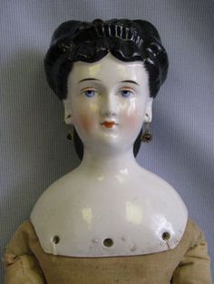 "24 5"" Antique c1865 German China Head Doll w Elaborate Hair Style Pierced Ears   eBay"
