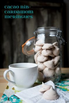 Cacao Nib-Cardamom Meringues - where light & sweet becomes aromatic and exotic! Only 20 calories a piece!