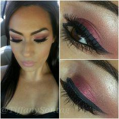 Burgundy eyeshadow.  Makeup look for fall. MAC nudes and metallics collection.