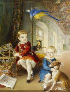 D. Pedro, Duque de Bragança (à esquerda) e D. Luís, Duque do Porto, no Palácio da Vila de Sintra. Quadro encomendado pela rainha Vitória do Reino Unido a William Barclay Jr., em 1843.