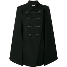 Pierre Balmain Doublebreasted Cloak ($1,625) ❤ liked on Polyvore featuring black and pierre balmain