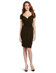 KAMALIKULTURE Women's Short Sleeve Sweetheart Draped Dress. I like the sweetheart neckline and the draping, but not the print.