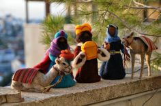 Needle felted Nativity . Nativity Waldorf  Wise men. Magi and camels. Reserved for Gwen on Etsy, $136.00