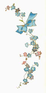 Antique Images: Free Flower Graphic: Vintage Forget-Me-Not Flower with Blue Bow