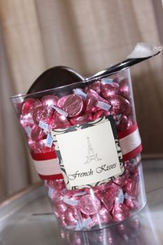 Cute little detail for Paris Themed Sweet 16 Party. Paris Bridal Shower, Paris Baby Shower, French Bridal Showers, Chanel Bridal Shower, Paris Themed Birthday Party, Birthday Party Themes, Spa Birthday, Birthday Ideas, 11th Birthday