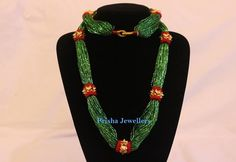 24 Carat Traditional Naugedi Mala in adorable green potey(beads)