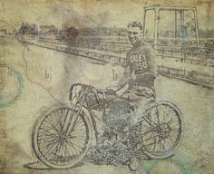 Items similar to Fathers day gift for dad husband boyfriend - Motorcycle Drawing - Triumph BMW Norton Motorcycle - Board Track Race - Mixed Media on Map on Etsy Racing Motorcycles, Vintage Motorcycles, Harley Davidson Motorcycles, Norton Motorcycle, Motorcycle Posters, Hell On Wheels, Vintage Harley Davidson, Vintage Racing, Vintage Signs