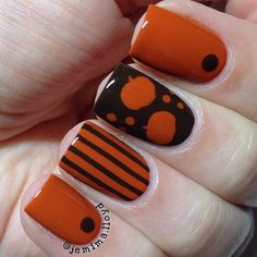 This manicure by @jemima.lloyd was made to hold a #pumpkinspicelatte! Jemima is using our Pumpkin Nail Decals found at snailvinyls.com