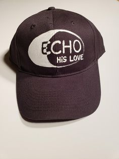 cdd6962f780 Echo His Love - Hand Painted One Of A Kind Hat - Faith Based Gift -  Christian Hat - Baseball Cap Black With White Hand Painting - Bean Wear