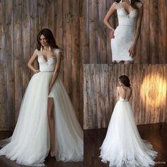 Wedding Gown Detachable Train Sheath Style Deep V Neck Capped Sleeve Open Back…