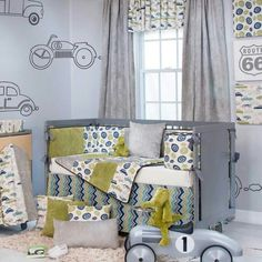Love this subtle  blue and green with cars