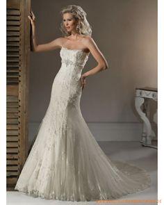 2013 neues Brautkleid aus Tüll schulterfreier Ausschnitt mit Korsett und schmaler Rock mit verziertem Saum