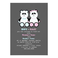 Shop Panda Teddy Bears Gender Reveal Party Invitation created by JillsPaperie. Panda Baby Showers, Gender Reveal Party Invitations, Baby Shower Gender Reveal, Baby Gender, Online Invitations, Rustic Invitations, Create Your Own Invitations, Baby Shower Parties, Shower Party