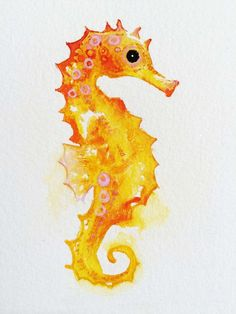 Watercolor Seahorse Art, Original Watercolor Golden Seahorse