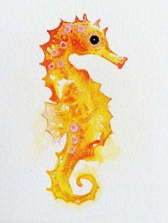 Original Watercolor Golden Seahorse by SweetPeaAndGummyBear