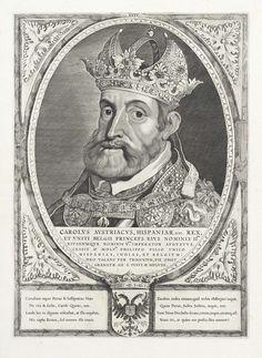Cornelis Visscher (II) | Portret van Karel V van Habsburg, Cornelis Visscher (II), Peter Paul Rubens, 1650 | Karel V van Habsburg, Duits keizer, koning van Spanje. Op het hoofd een kroon en om zijn hals een keten met het ordeteken van de orde van het gulden vlies.