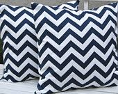 Accent Pillows Decorative Pillow Covers 20 x 20 Inches - Navy and White Chevron