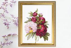 Cross Stitch Kit Peonies Flowers DIY Luca-S Modern Cross | Etsy