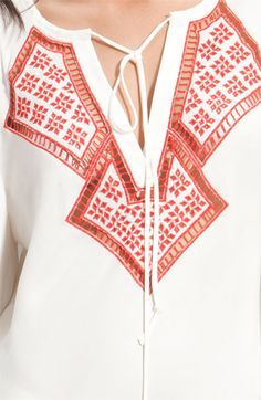 Haute Hippie Embroidered Cutout Silk Tunic
