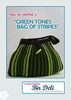 Crochet Pattern - Green Tones Tote Bag of Stripes
