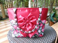 Gorgeous Red Cherry Zip Closure Shoulder Bag With Red And White Rose Flowers & Bow Bead Double Handles,Bridal Bag,Wedding Bag,Gifts For Her by Punyee on Etsy