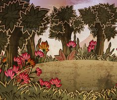 Forest scene with meadow and flowers. EPS 10 file and high resolution JPG inside.