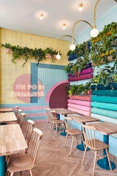 """Piada"" restaurant in Lyon, France by Spanish design firm Masquespacio Design Studio, Cafe Design, Store Design, Boutique Interior Design, Restaurant Interior Design, Italian Restaurant Decor, Italian Cafe, Coffee Shop Design, Outdoor Furniture Sets"
